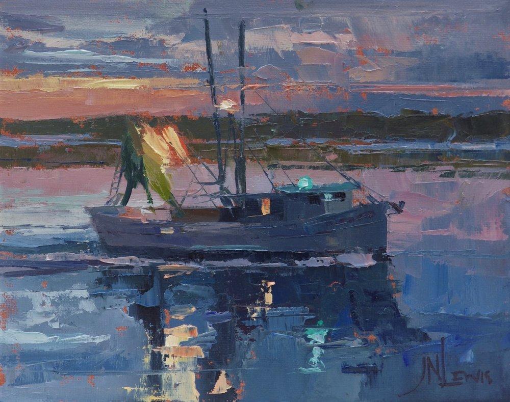"""Night Lights""  Oil on Canvas  8"" x 10"""