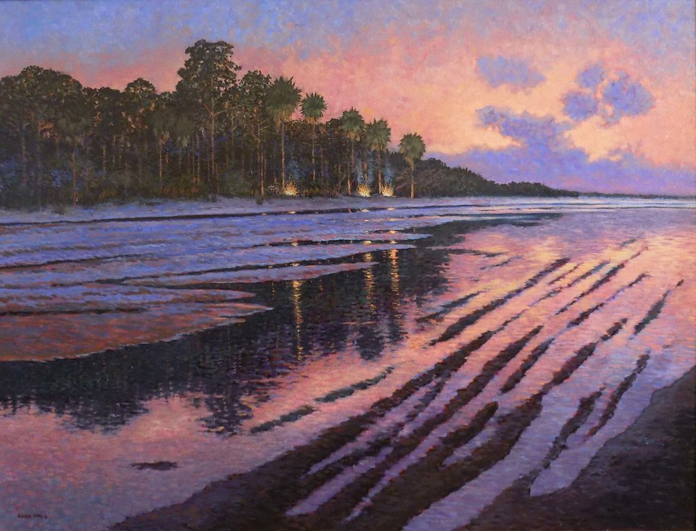 """Campfires On Hunting Island""  Oil on Canvas  36"" x 48"""