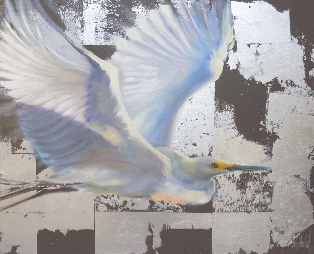 """Glorious Morning Flight""  Mixed Media on Canvas  24"" x 30"""