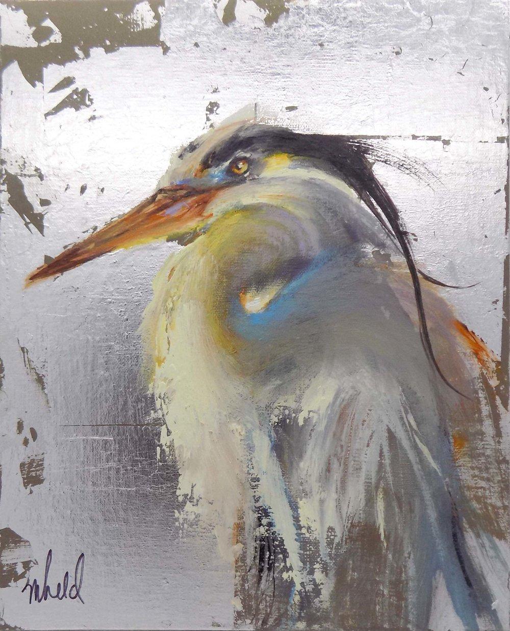 """Indigo Heron""  Oil and Silver Leaf on Canvas  10"" x 8"""