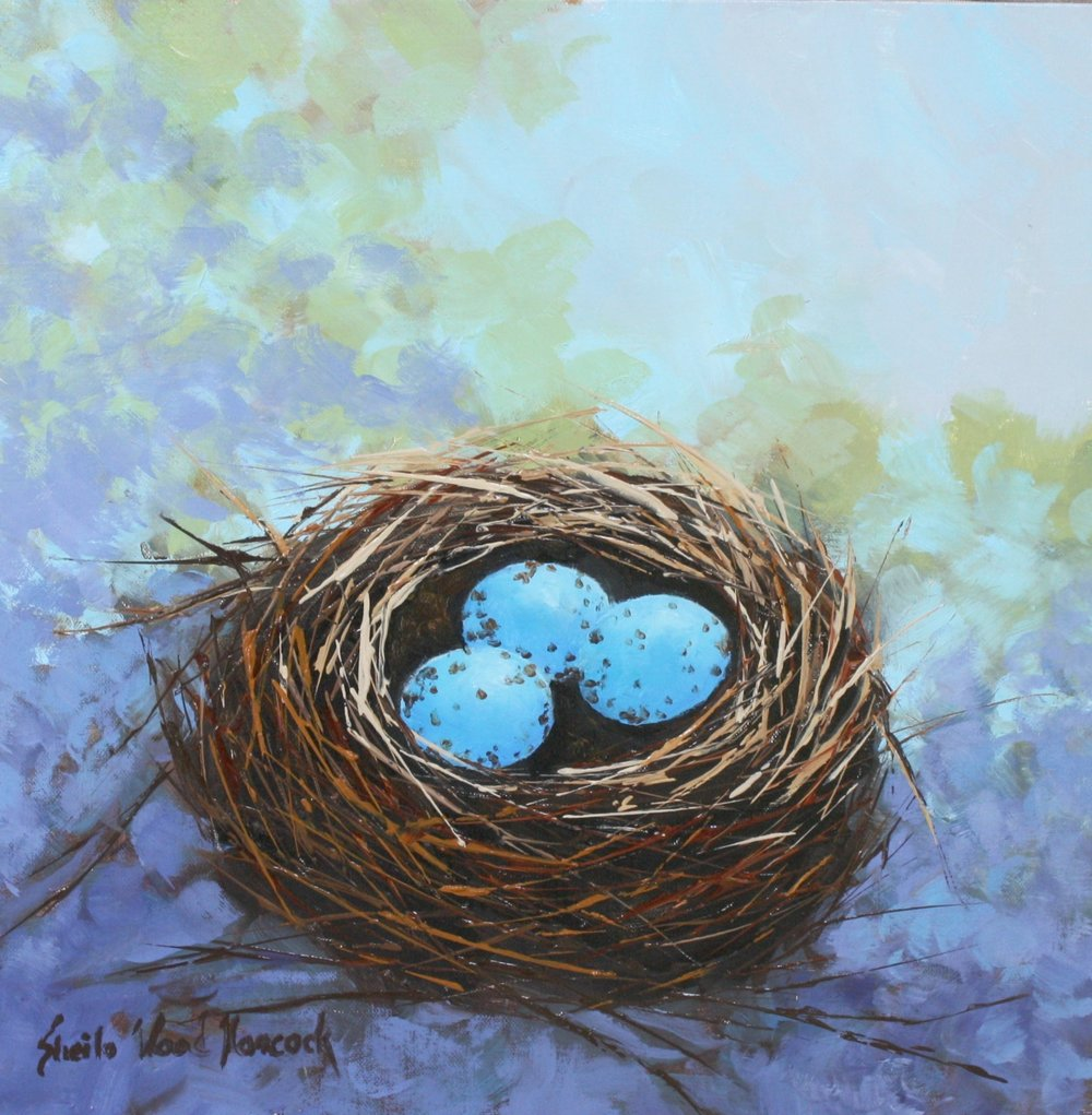 """Sparrow Nest In Wisteria""  Oil on Board  12"" x 12"""