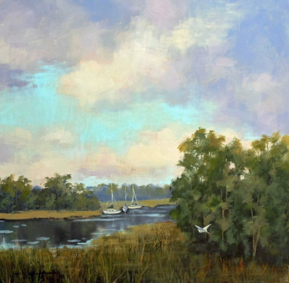 """Lowcountry Sailboats""  Oil on Board  20"" x 20"""