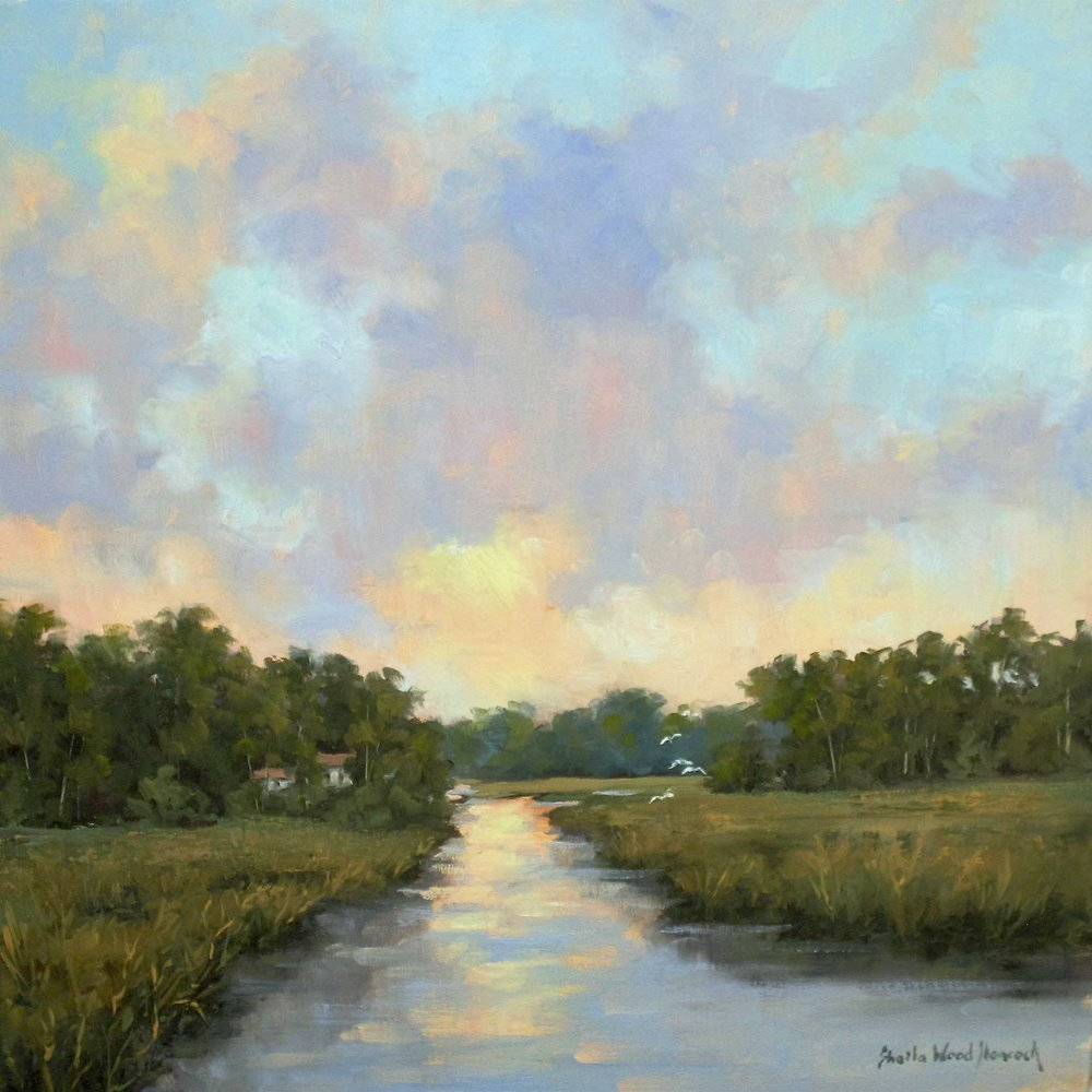 """At Home In The Lowcountry""  Oil on Board  20"" x 20"""
