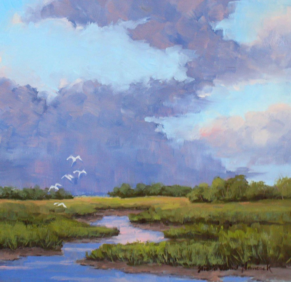 """Low Country Purple Skies""  Oil on Board  12"" x 12"""