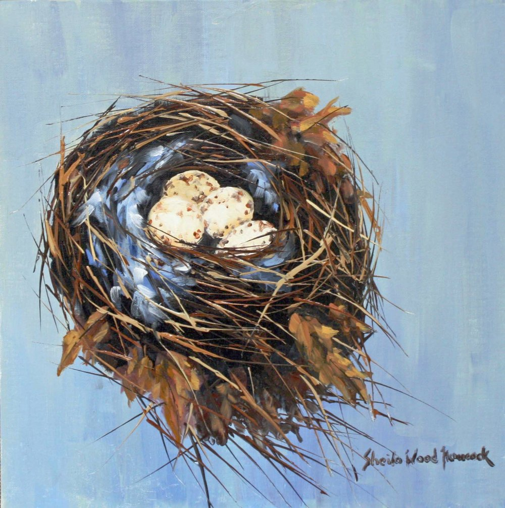 """Carolina Wren's Nest""  Oil on Board  12"" x 12"""