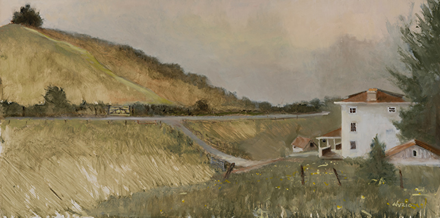 """The Tracks""  Oil on Clayboard,  Plein Aire   12"" x 24""   This painting is of NC Wyeth, Andrew's dad, and the symbols that Andrew used to represent him. Where the road curves, the part of the road close to the house, is the location of NC's sudden death, where his stalled car was struck by a train. Since Andrew had not painted a portrait of his father while he was alive, the hill itself as well as the tracks on the hill represented NC to Andrew and became a recurring element in his paintings. The top of the hill is where Andrew first saw the farm. I started to paint the large pines on the far side of the hill, but finding them distracting (and just too much green for me), I brought in the grey of the day."