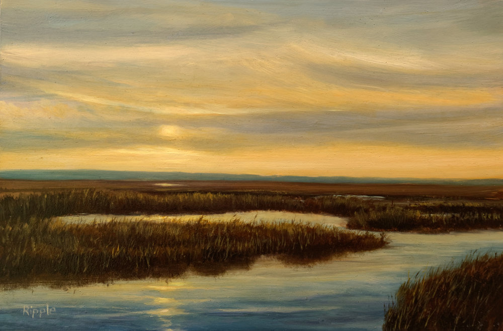 """""""Sunset Over The Marsh, Hunting Island""""  Oil on Gessoboard  6"""" x 9"""""""