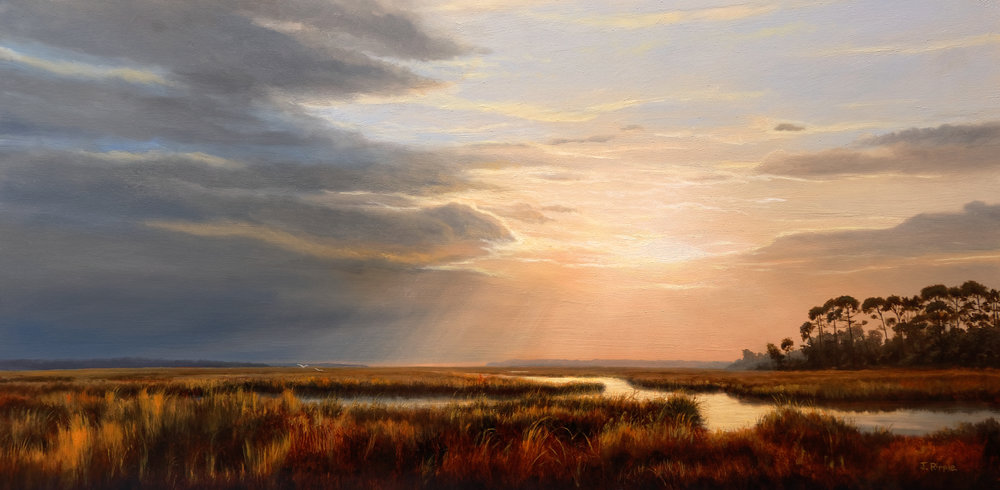 """""""The Marsh Before Sunset, Hunting Island""""  Oil on Gessoboard  12"""" x 24""""   SOLD"""