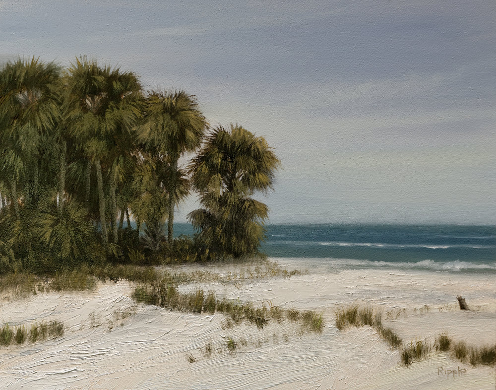 """""""High Noon At The Beach, Hunting Island, March 29, 2018""""  Oil on Gessoboard  8"""" x 10"""""""