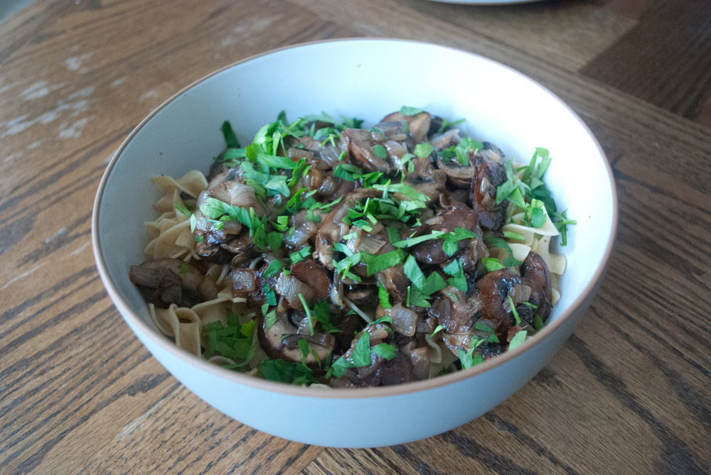 Egg noodles with Mushrooms