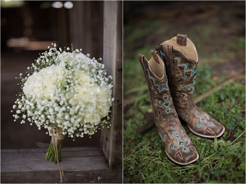 baby's breath bouquet and cowboy boots for country wedding