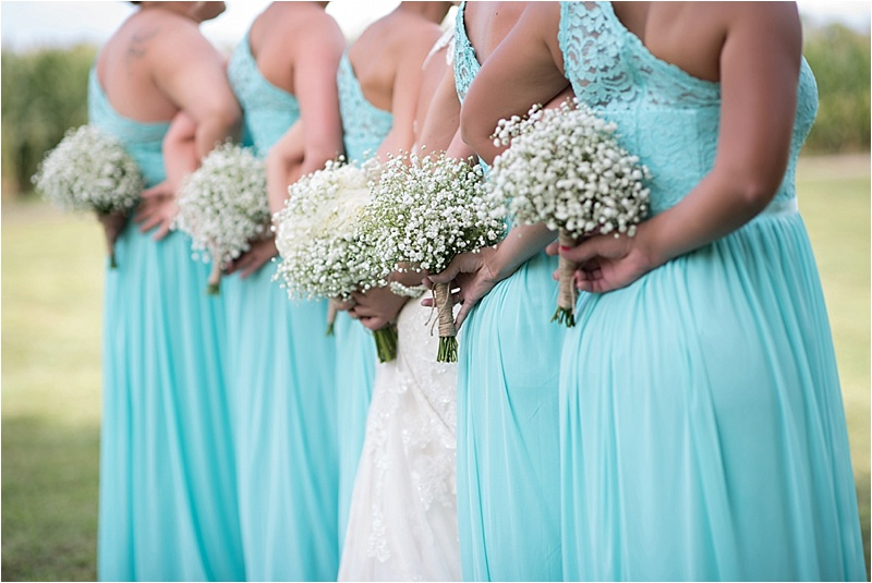 bridesmaids dresses at country wedding