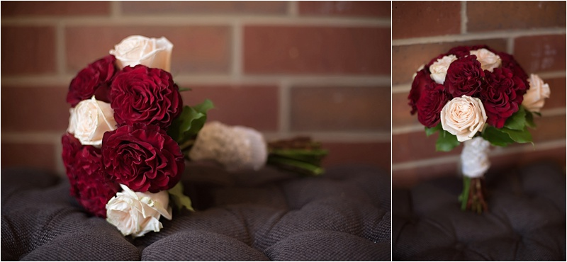 red and ivory rose bouquet