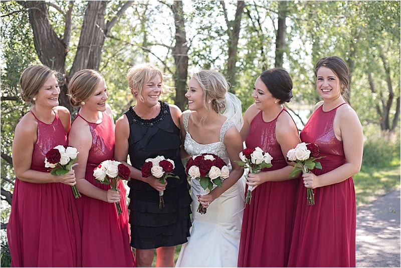 gray ivory and red bridesmaid dresses