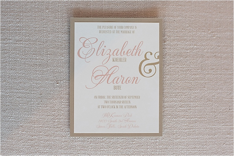 blush and gold wedding invitation