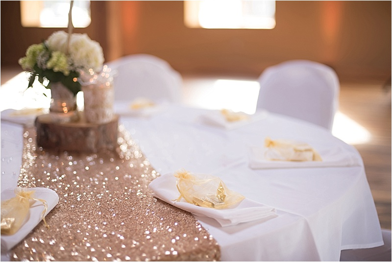 gold and ivory reception decor