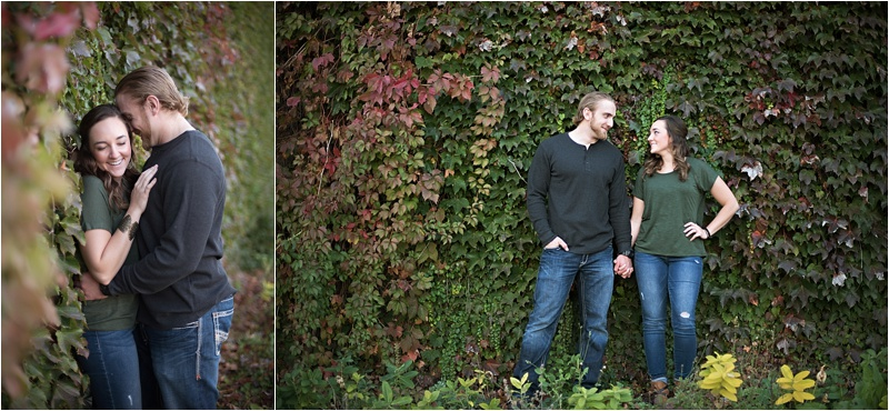 Edgy Ivy Wall Fall engagement session with Ivy