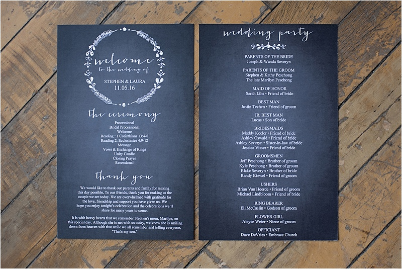 hand lettered vintage wedding program