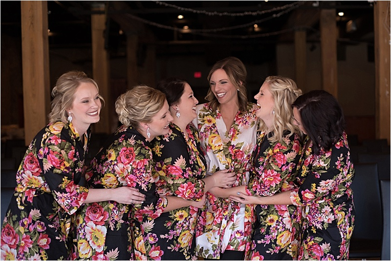 bridesmaids matching floral robes