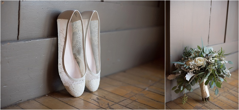 lace ballet wedding flats winter bouquet