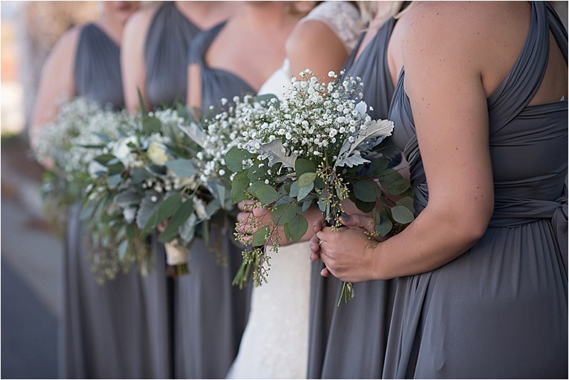 winter bouquet gray bridesmaids dress different style