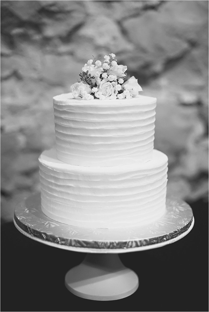 two tier wedding cake all white