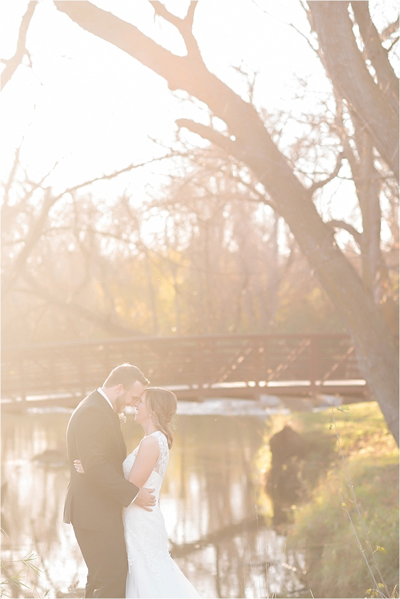fall bridal portraits with bridge sunset