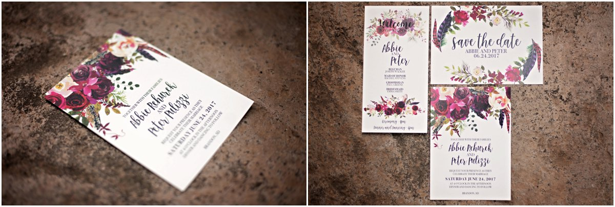 dark bohemian crimson floral wedding invitation suite