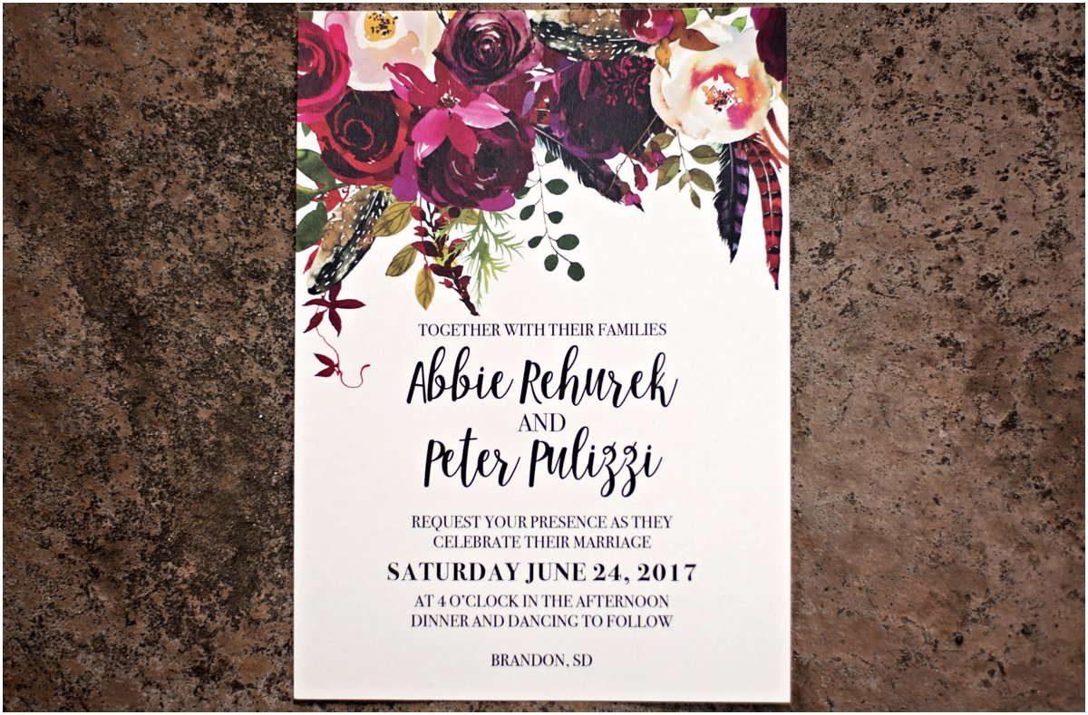 purple and crimson floral wedding invitation