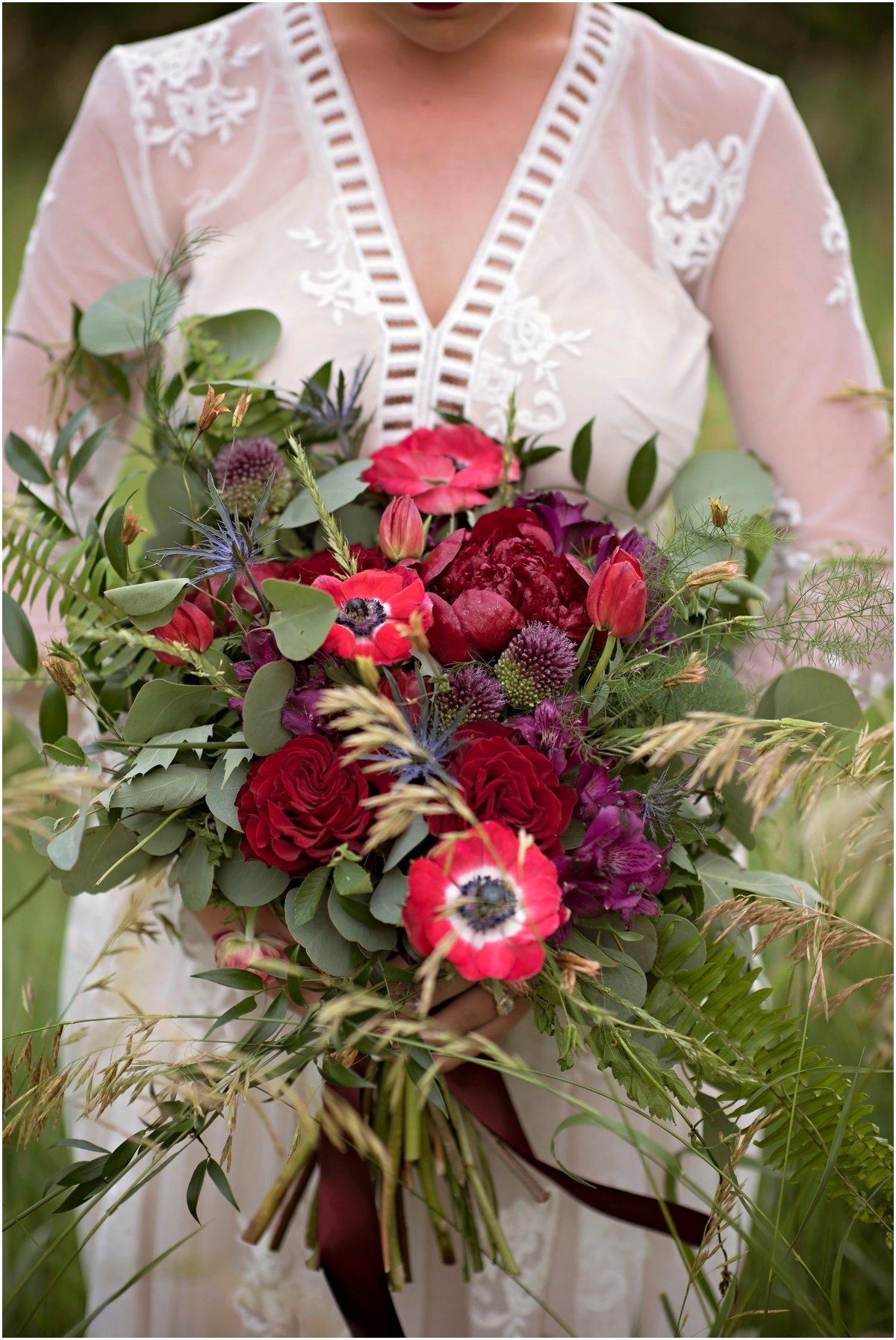 rose thistle fern eucalyptus bridal bouquet