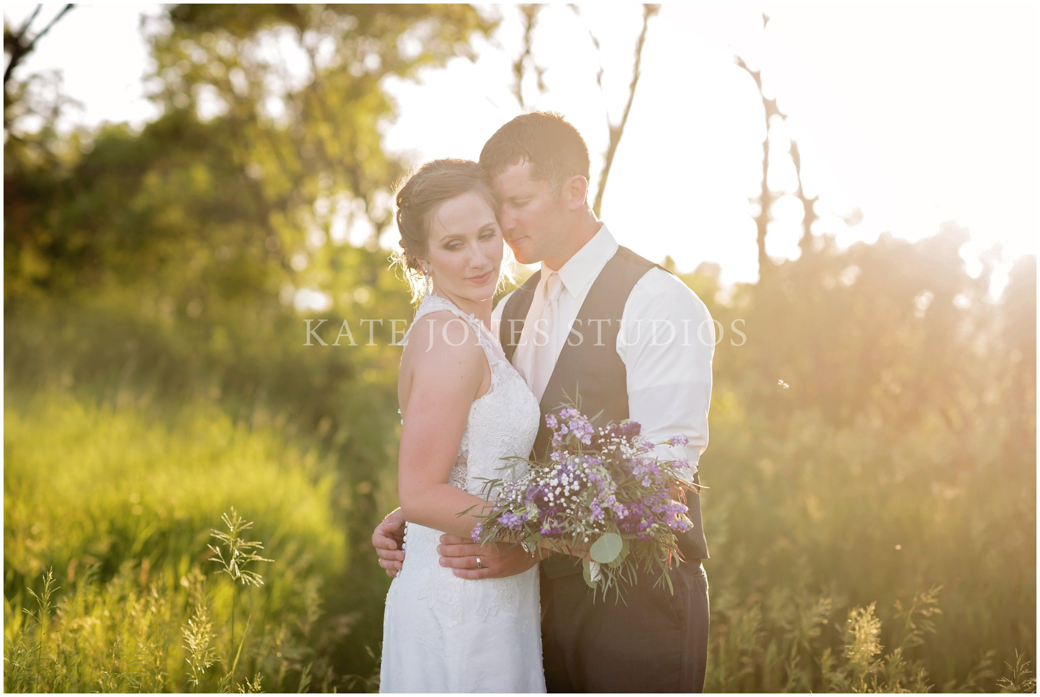 sunset lavender wedding portraits