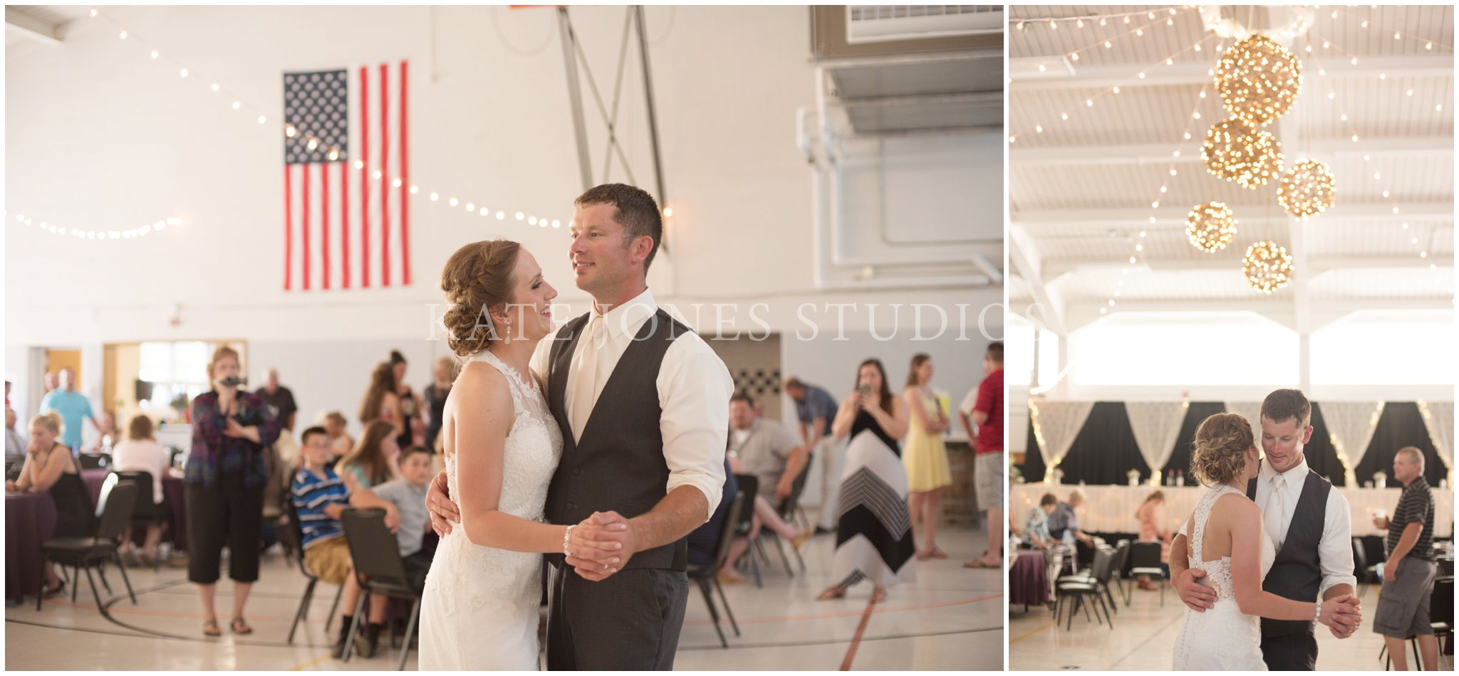 armory wedding first dance bride and groom