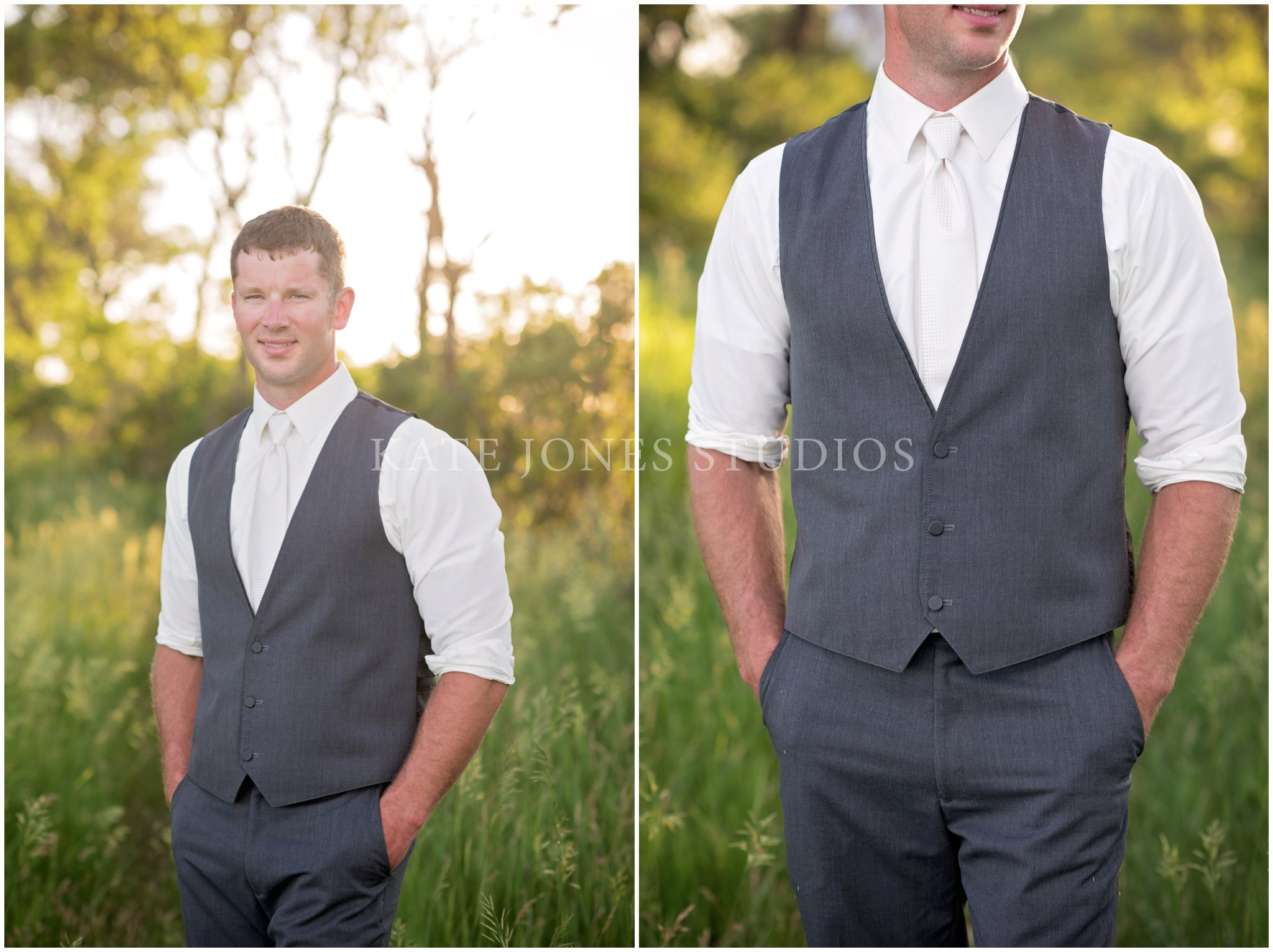 gray three piece suit with white tie