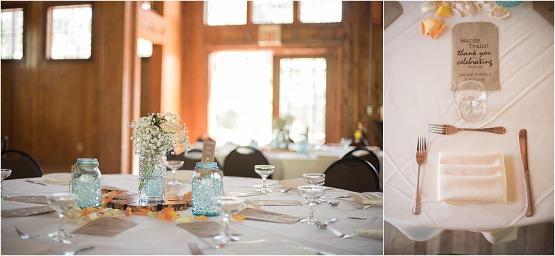 sylvan lake teal and peach wedding