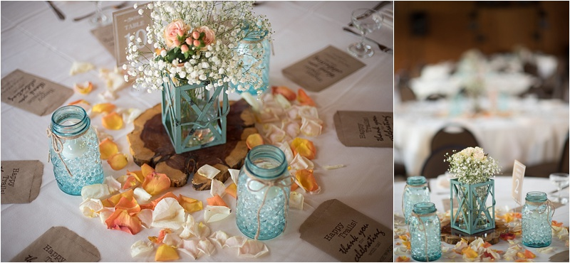rustic teal wedding with baby's breath