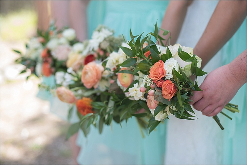 peach and ivory outdoor wedding bridesmaid bouquet