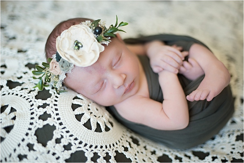 hunter green newborn girl lace florals