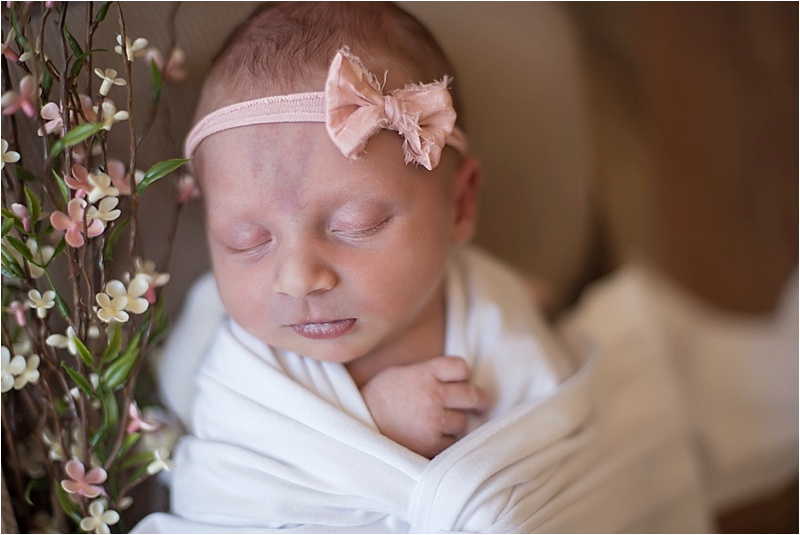 blush pink neutral newborn girl bow and florals