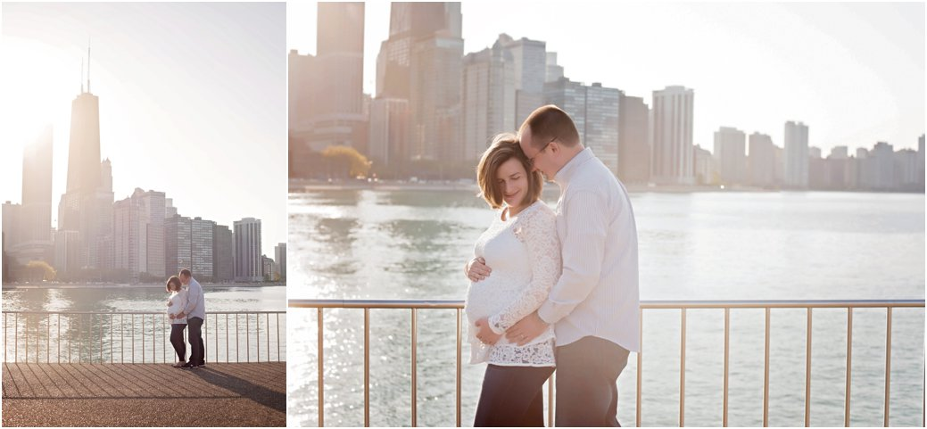 Maternity in front of Chicago skyline at Milton Lee Olive Park