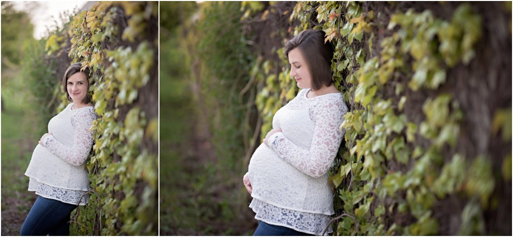 ivy wall white lace maternity session Chicago IL Lakefront Trail