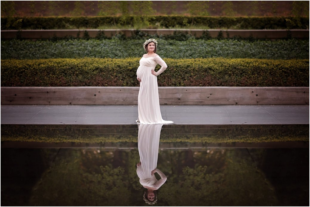 Maggie Daley Park white lace maternity dress maternity session floral crown Chicago IL reflection