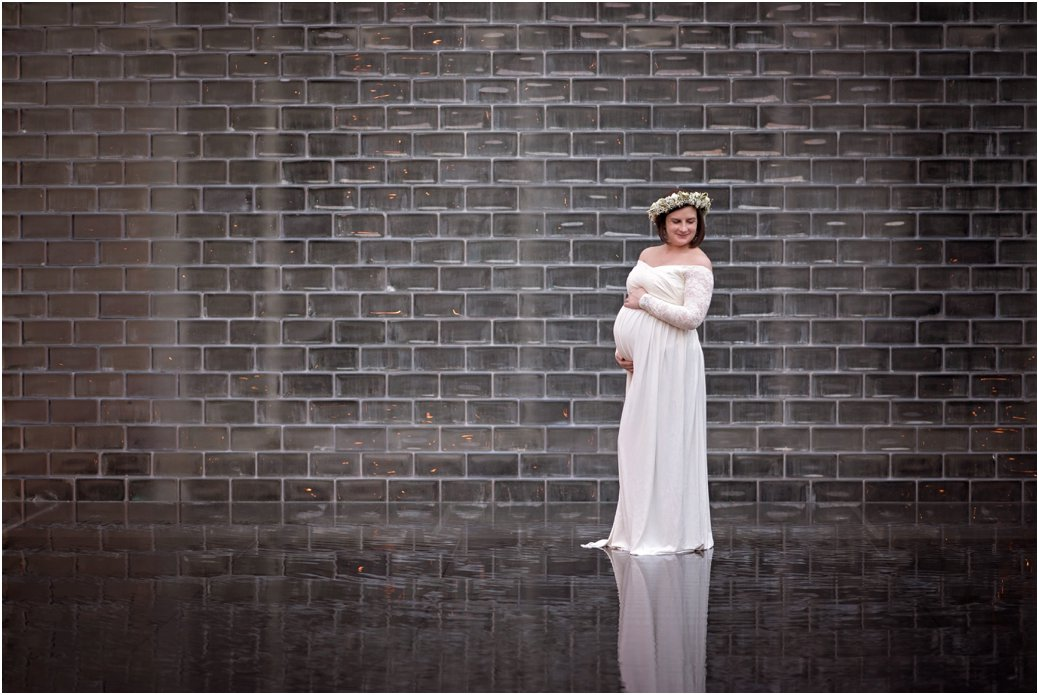 Maggie Daley Park white lace maternity dress maternity session floral crown Chicago IL downtown