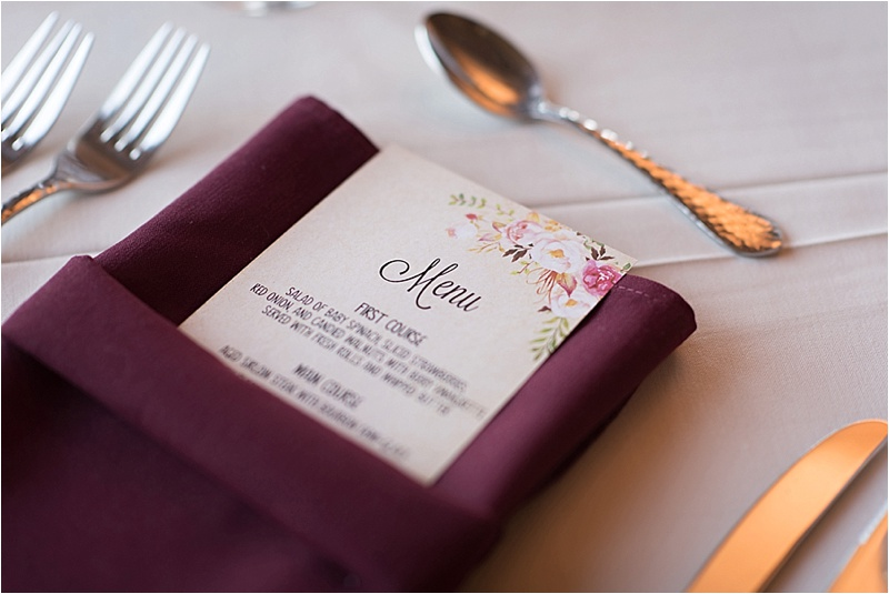 burgundy floral spring wedding menu