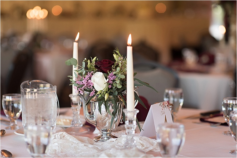 burgundy floral spring wedding floral table centerpiece