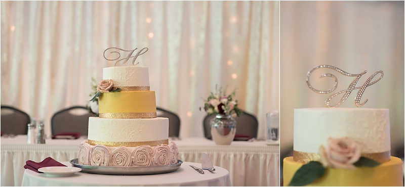 gold ivory and pink rosette weding cake