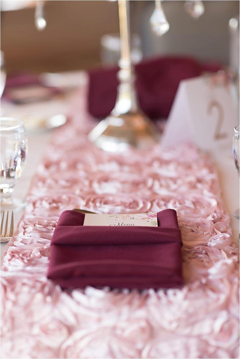 pink rosette runner burgundy
