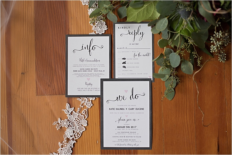 formal wedding invitation suite and eucalyptus greenery