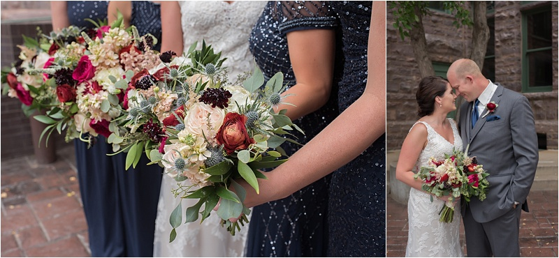 deep mauve and navy wedding bouquets