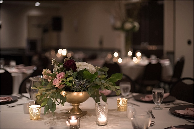 gold and mauve formal wedding reception decor