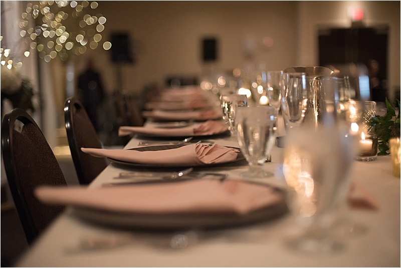 blush and gold head table